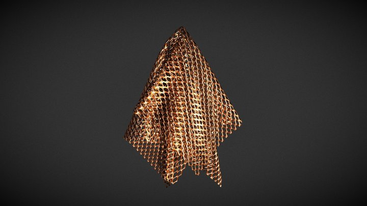 Copper Micro Chain-link 3D Model