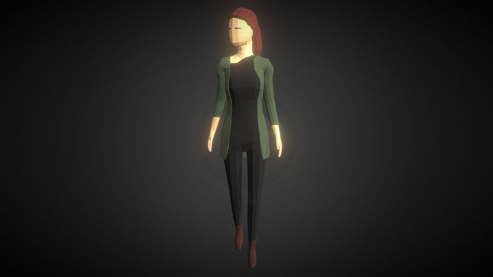 Low-poly Woman Casual 2 3D Model
