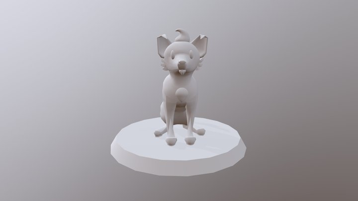 Low Poly Dog Statuette 3D Model