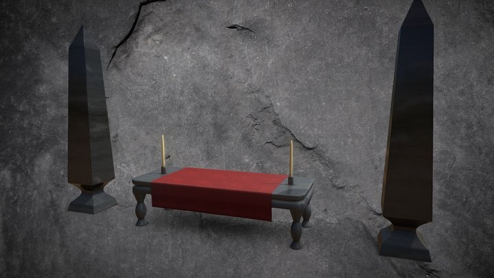 Ritual Altar With Candles & Obelisks 3D Model