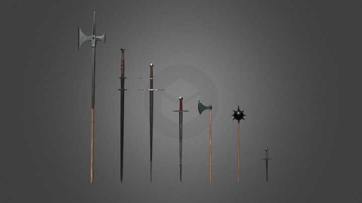 Realistic Medieval Weapons Pack 3D Model