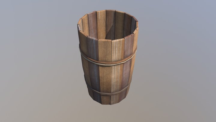Wooden bucket 03 3D Model