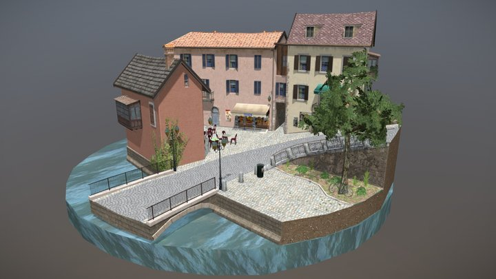 City Scene Annecy 3D Model