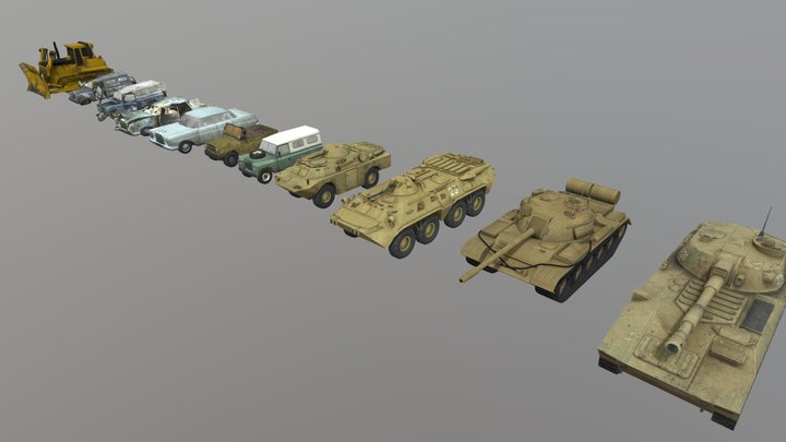 Low Poly 3D Vehicle Game Pack 3D Model