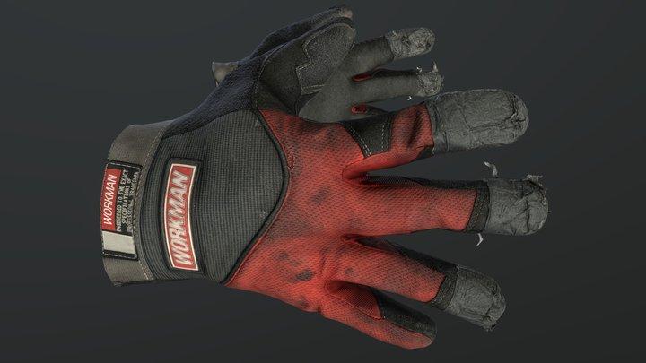 Worn Work Gloves 3D Model