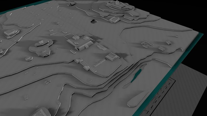 1996 Topographic Map of Chan Chich 3D Model