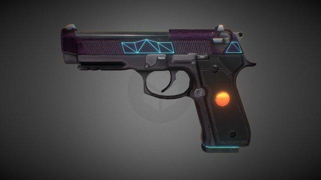 KF2 Skin : Synthwave - 9MM Pistol 3D Model