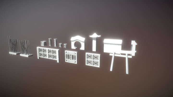 Chinese / Japanese props (untextured) 3D Model