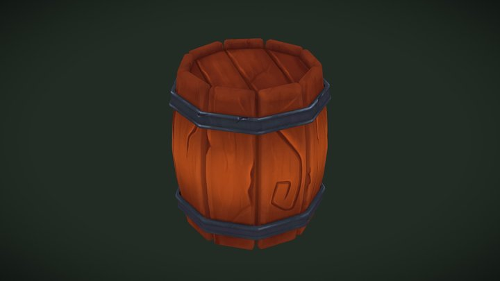 Low Poly Barrel with Hand-painted Texture 3D Model
