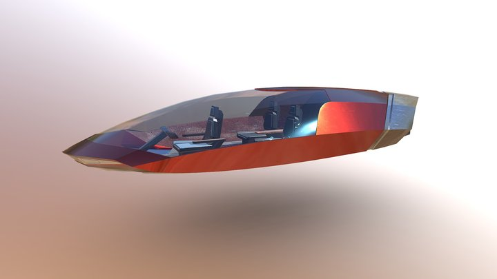 futuristic Flying Car 2 3D Model