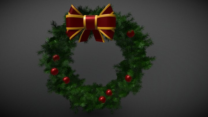 Christmas Wreath with Ribbon 3D Model
