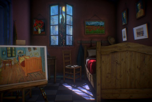 Van Gogh , Bedroom in Arles , night 3D Model
