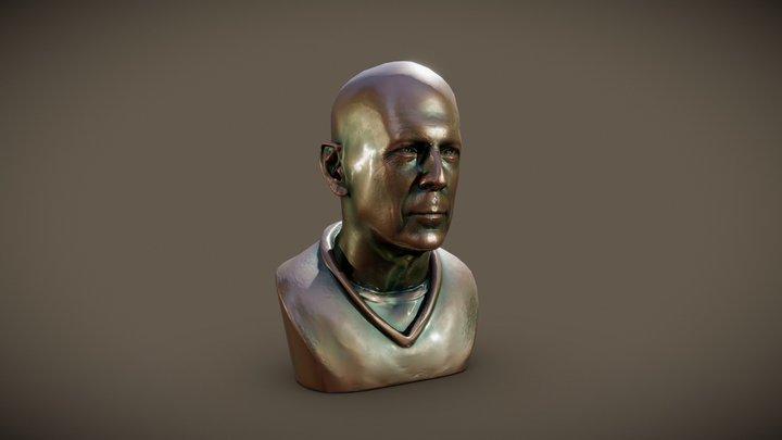 Bruce Willis LP Bronze Bust 3D Model