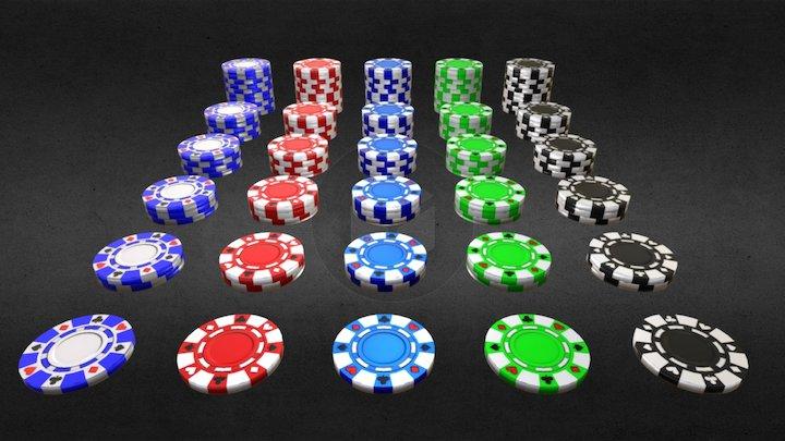 Game-Ready Poker Chip Set 3D Model