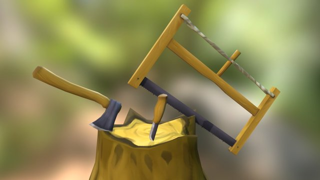 Bush Craft Hatchet, knife and saw 3D Model