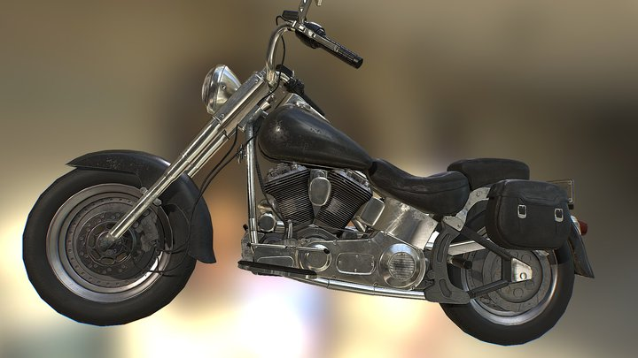 Harley Davidson Fatboy 1990 Motorcycle 3D Model