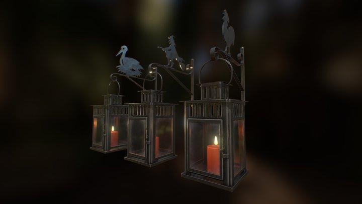 Lanterns Stork - Witch - Rooster 3D Model