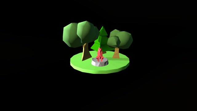 Low Poly Coyote Scene 3D Model