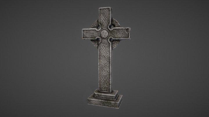 Old celtic cross gravestone 3D Model