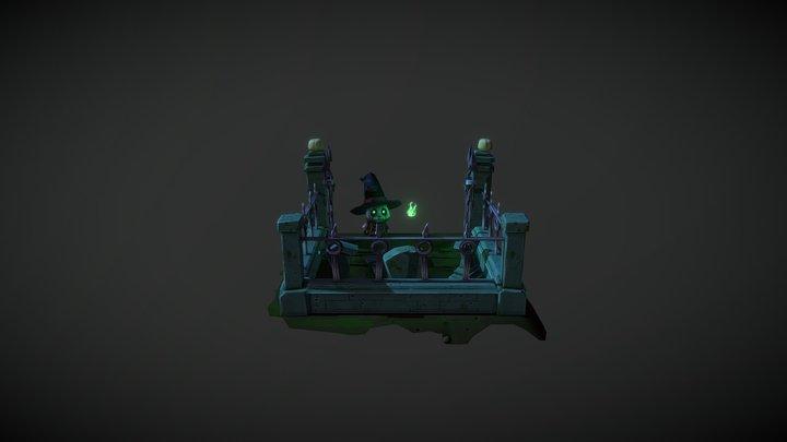 Cartoon Cemetery 3D Model