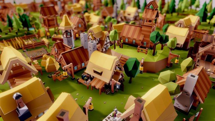 Fantasy Village 3D Model