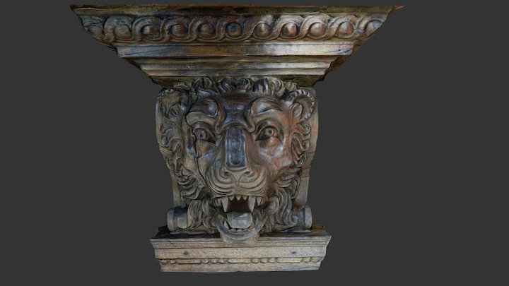 Wooden head from above a fireplace (3) 3D Model