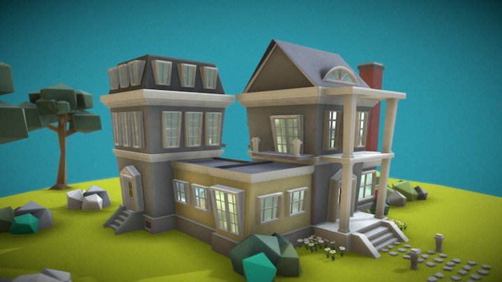 Modular Colonial Houses (low poly) 3D Model