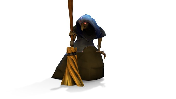 Hand Painted Woods Witch / Warlock Rigged 3D Model