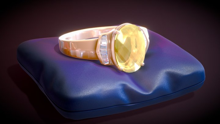 Ring with Citrine and white Topaz. 3D Model