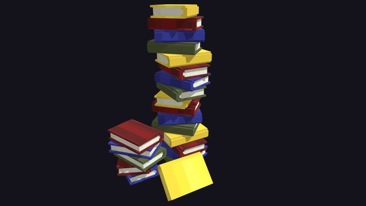 Pile of Books / Low-Poly / Minecraft 3D Model