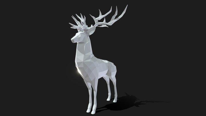 Deer Poly Art - With STL file 3D Model