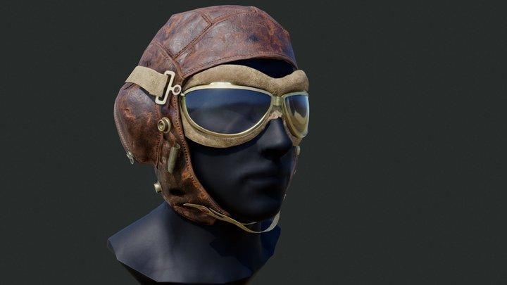 WW2 Leather Flying_Helmet 3D Model