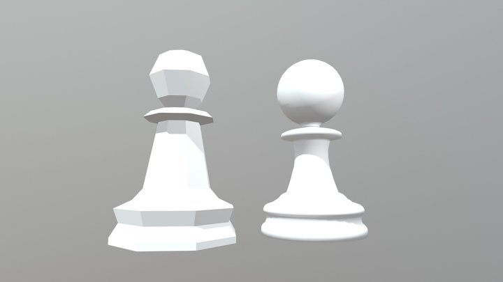 Low And High Poly Pawns 3D Model