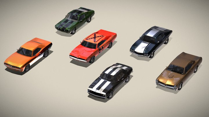Musclecar set: Chevelle, Mustang, Charger, GTO.. 3D Model