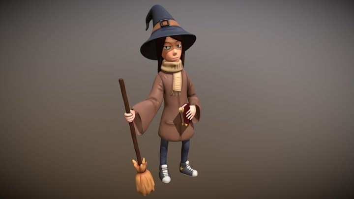 Anime Styled Witch 3D Model