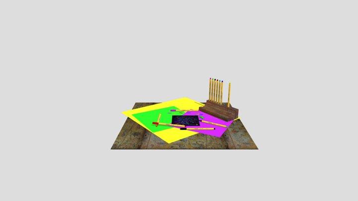 Pen holder, office set 3D Model
