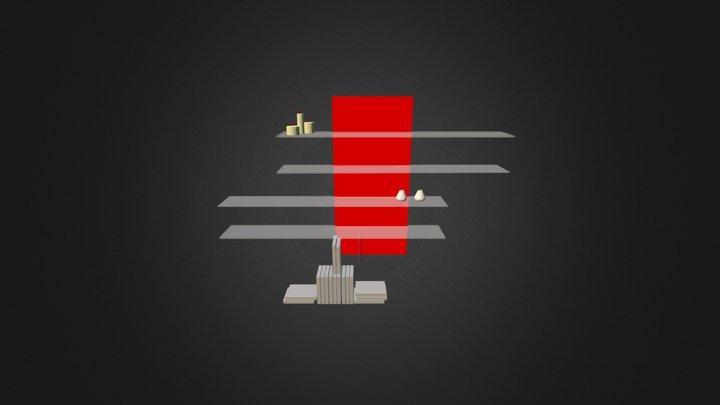 Bookcase 3D-014 3D Model