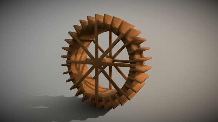 Simple water wheel 3D Model