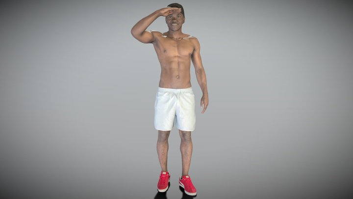 Shirtless muscular young african man smiling 221 3D Model