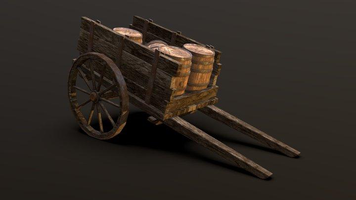 Cart And Barrels - Medieval Project 3D Model