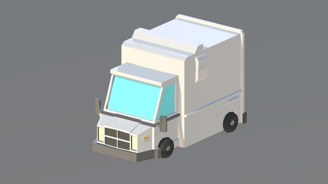 Low Poly Truck 3D Model