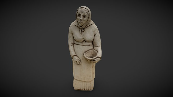 Old Woman With Basket 3D Model