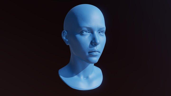 3D Printable Female Head 9 3D Model