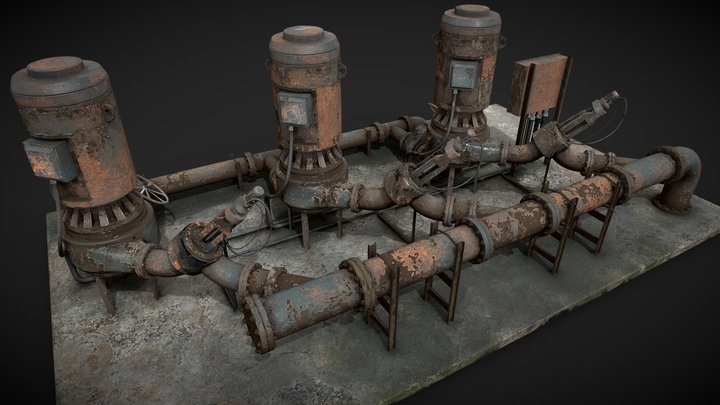 Rusted pump station 3D Model