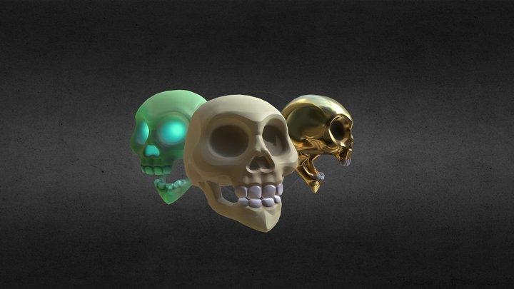 Skull Trio 3D Model