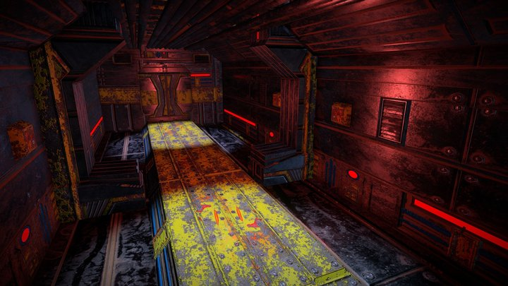 Sci-Fi Corridor using Tile Trimming 3D Model
