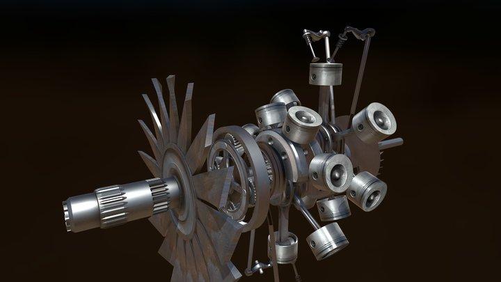 BMW801 Dynamic parts 3D Model