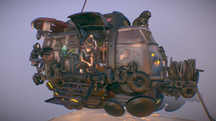 Neon Slums - Float Bus 3D Model