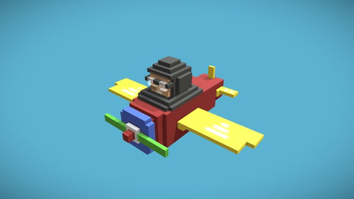 Airplane with pilot (low poly model + animation) 3D Model