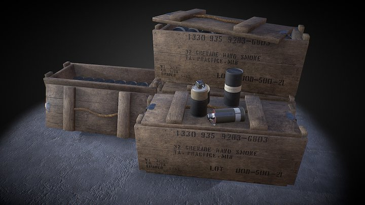 AN M18 Smoke Grenade and other ammunition 3D Model